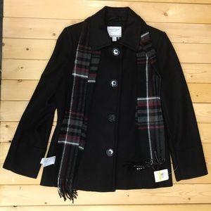 Nautica pea coat wool  button down scarf black